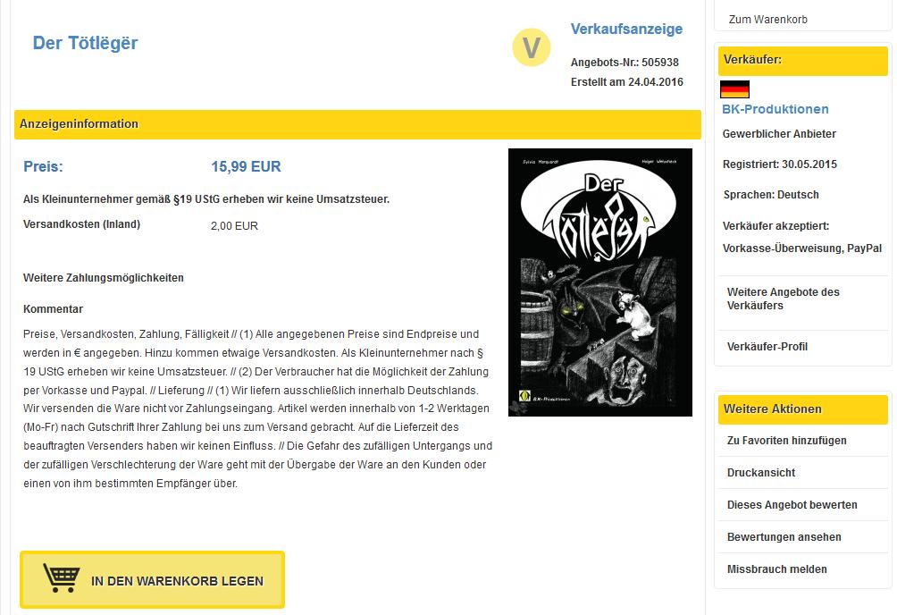 Screenshot vom Totleger-Shop auf DerSammler.eu