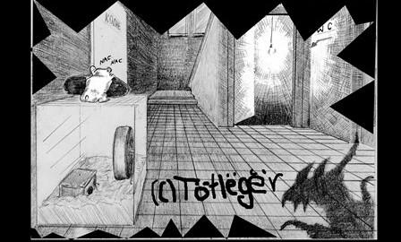 Zeichnung vom Nager im Wirtshaus