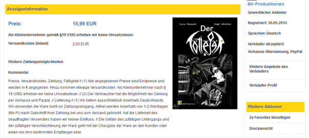 Screenshot vom Shop auf Dersammler.eu