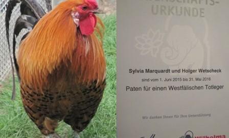 Patenschaftsurkunde Wilhelma Westfälischer Totleger